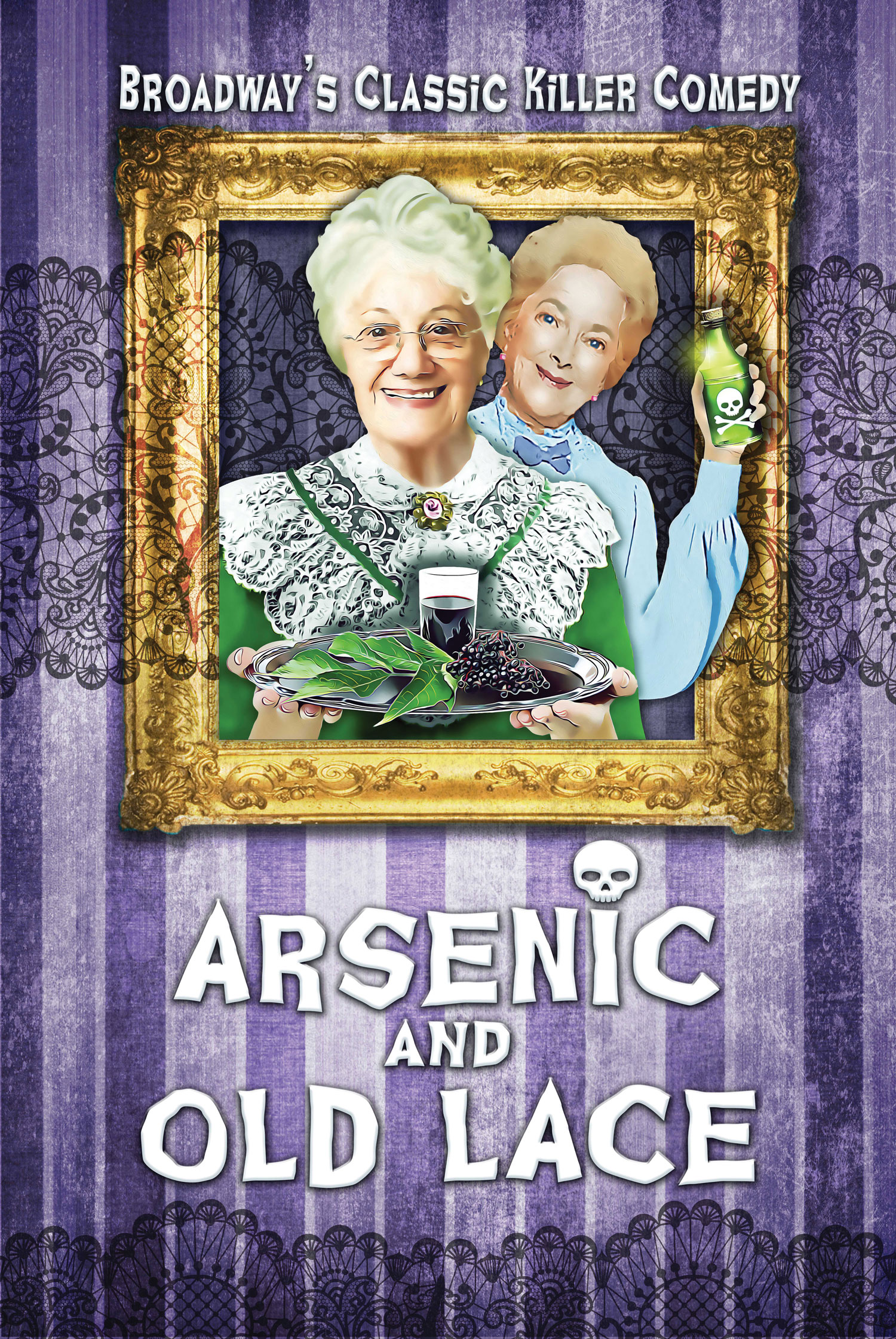 Arsenic & Old Lace artwork, picture of two old ladies holding poison and smiling