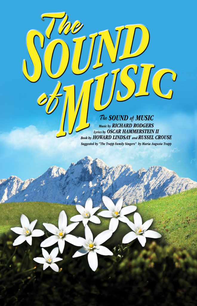 Sound of Music art with Austrian mountains and green hills